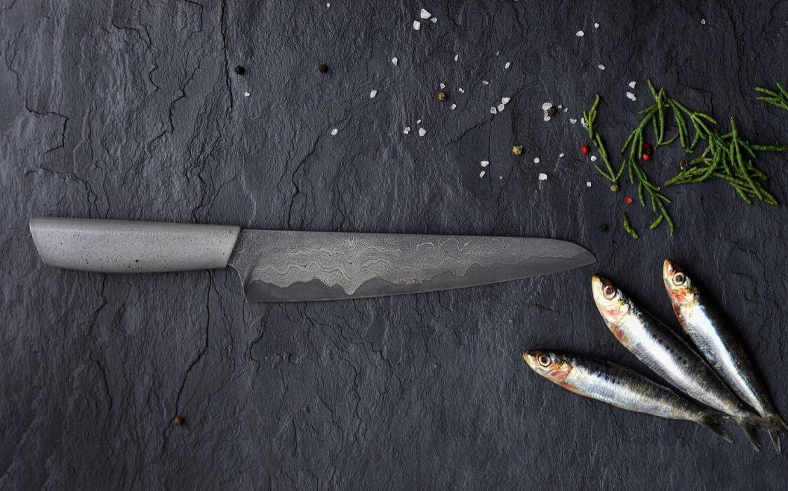 Couteaux à lame d'acier damascène